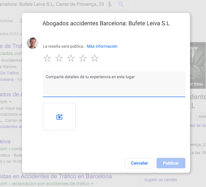Pop up de opiniones de Google Maps